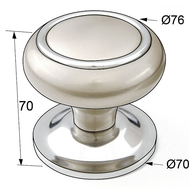 DOOR KNOB WITH RING / MAT NICKEL - CHROME